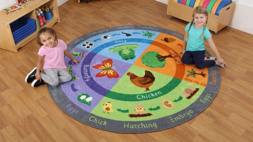 Carpets For Classrooms For Toddlers: Back To Nature Life Cycles Carpet,Children's Carpets